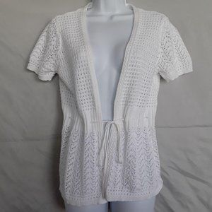 Christopher & Banks White Open Knit Cardigan M